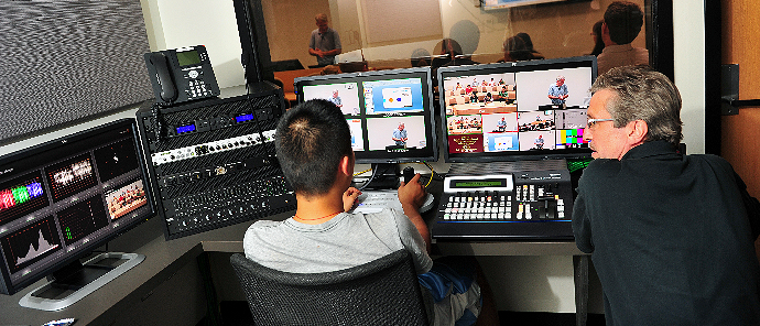 Technicians recording a class